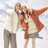 【1件2折到手价:414】美特斯邦威羽绒服女冬装新款舒适保暖连帽柔软潮流短羽绒服女