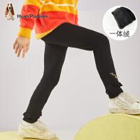 【抢购价:75元】暇步士童装女童裤子冬季新款中大童甜美可爱一体绒打底裤