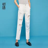 初语2018夏季新款 ins牛仔裤女米白色破洞撞色刺绣拼接毛边九分裤