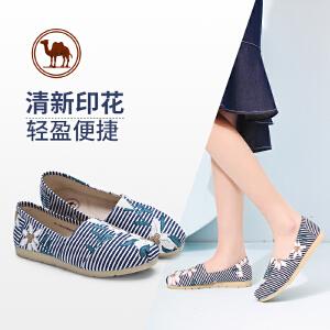 骆驼牌女鞋2018春季条纹帆布鞋女透气懒人套脚平底休闲鞋玛丽布鞋