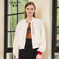 海贝2018秋季新款女立领长袖个笥字母印花白色夹克棒球服短款外套