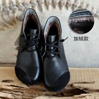 脱毒罂粟 不对称编织美。牛皮森系棉麻手工女鞋真皮低跟短靴棉靴SN3001 34 标准码