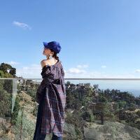 2018春装新款韩版宽松条纹衬衣学生百搭长袖polo格子衬衫女 咖啡色