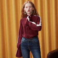 【1件3折到手价:83.7】美特斯邦威毛衣女学生甜美拼接喇叭袖高领毛衣秋冬装新款潮流