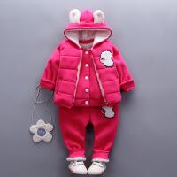 女宝宝1婴儿童装0冬装衣服3岁半女童2加绒小童洋气三件套装韩版潮巴拉