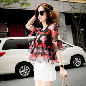 风轩衣度 2018年夏季韩版休闲时尚宽松显瘦圆领印花中袖两件套 2505-725