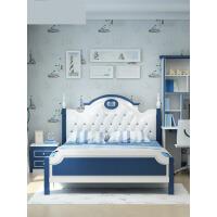 儿童床男孩王子单人床1.5米欧式1.2米地中海家具套房组合(带储物) o4d