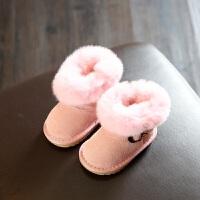 冬款儿童鞋宝宝棉鞋婴儿鞋学步鞋小童翻毛雪地靴短靴侧拉链0-2岁