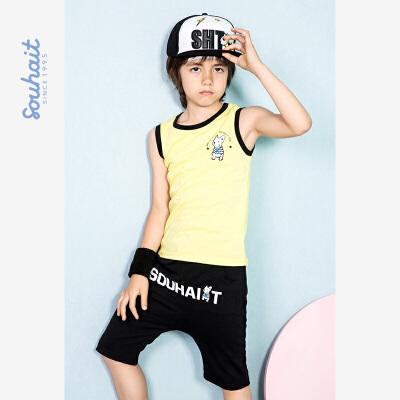【3折价:41元】水孩儿souhait男童夏装新款套装T恤短裤俩件套夏季童装夏童装AAHXM550 实用套装,个性时尚