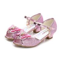 女童凉鞋2018新款韩版夏季公主鞋儿童高跟鞋小女孩冰雪奇缘水晶鞋