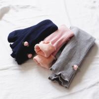 小玫瑰坑条加绒裤 0-1-2-3-4岁女童宝宝双层厚纯棉纯色打底长裤