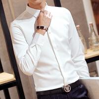 秋季男士白长袖衬衣休闲发型师寸纯色商务韩版修身免烫衬衫