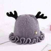秋冬宝宝毛线鹿角帽子儿童女童婴儿男童女孩韩版潮针织帽0-1-3岁 6个月-3岁
