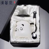 汉馨堂 马克杯 礼盒男女创意可爱卡通熊猫马克杯家用陶瓷杯子带盖勺情侣杯牛奶杯520情人节礼物