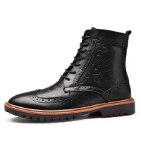 2018秋冬季布洛克风格高帮皮鞋男士加绒棉鞋复古雕花潮流休闲靴子 38-47