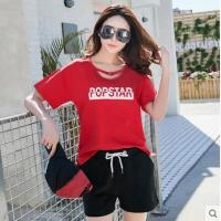 户外运动 新款女韩版时尚女装运动套装女休闲两件套 潮短袖短裤