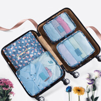 旅行收纳袋 韩版六件套防水衣物整理包旅行收纳包行李箱6件套收纳挂袋
