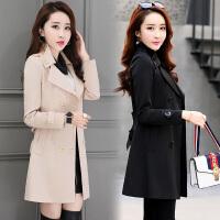风轩衣度 风衣纯色双排扣时尚长袖中长款修身简约韩版2018年春季新款 9956