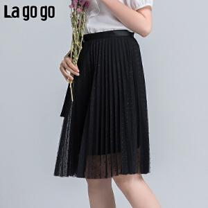 【清仓3折价107.7】Lagogo2019年春季新款黑色网纱拉链半身裙女百褶中裙秋冬chic裙子