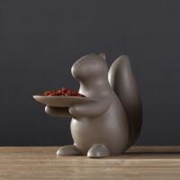 创意陶瓷工艺品松鼠干果盘摆件欧式家居客厅餐桌茶几装饰品摆设