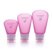 旅行便携空瓶化妆洗漱包洗发水沐浴露空挤压瓶软硅胶套装 粉色 3件套