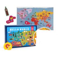 世界地图磁力贴磁性拼图冰箱贴亲子宝宝早教认知玩具