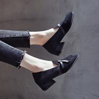 单鞋女中跟2019春季新款韩版温柔豆豆鞋粗跟百搭乐福鞋方头奶奶鞋 黑色 单鞋