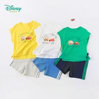 迪士尼Disney童装 男童潮酷肩开套装夏季新款印花汗衫上衣撞色织带短裤192T877