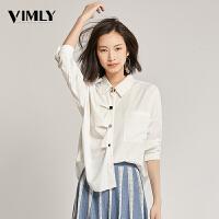 梵希蔓白色不规则个性衬衫女设计感小众秋装2019新款宽松休闲衬衣