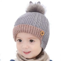 冬季护耳保暖儿童帽子 冬2-5岁毛线帽 女童帽子 秋冬小孩男宝宝帽子