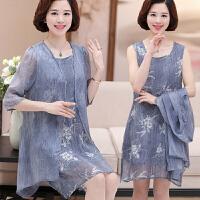 中年女春装两件套裙子时尚中长款外搭妈妈夏季真丝连衣裙潮35岁45