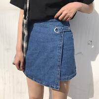 百搭高腰牛仔半身裙女春季新款韩版宽松显瘦不规则A字短裙包臀裙