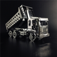 3D金属拼图工程车推土机挖掘机搅拌车自卸卡车压路机模型