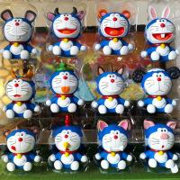 ?叮当猫十二生肖汽车摆件机器猫车载玩具蓝胖子蛋糕装饰公仔礼盒装 12款生肖彩盒装 高约7CM