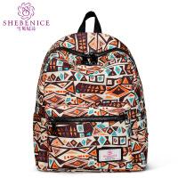 新款几何图案印花书包男女中学生学院风情侣背包时尚双肩布包