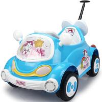 新款儿童电动车可坐卡通车遥控四轮汽车宝宝婴儿童车带推杆