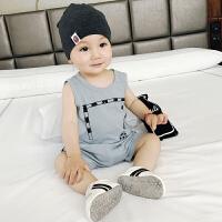 婴儿套装新生儿纯棉薄款棉麻短袖两件套潮休闲男小童外出韩版