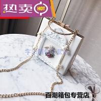 香港潮牌单肩包 新款巴洛克女包天使浮雕盒子包复古珍珠链条小包包单肩斜 白色 带天使