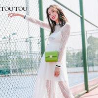 toutou2017春夏新款包包韩版链条包迷你小方包绿色女包单肩斜挎包