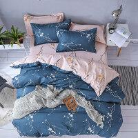 卡通床上用品四件套双人床2.0*2.3米被套床单学生宿舍单人三件套4 军绿色 暗香