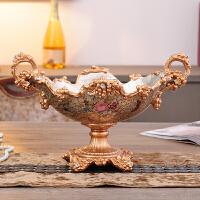 欧式创意奢华树脂摆件 客厅家居装饰品 干果盘纸巾盒烟灰缸三件套 灰色 双耳水果盘