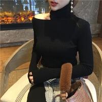 秋装新款复古设计感撕破领口修身百搭显瘦高领长袖针织衫毛衣女