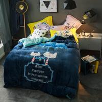韩版春秋季床上四件套珊瑚绒1.8m加厚保暖卡通法莱绒毛绒被套床单式