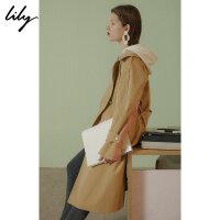 【25折到手价:259.75元】 【SMART系列】Lily春新款女装撞色字母标语风衣118330C1203