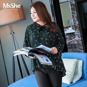 MsShe加大码女装2017新款胖mm秋装系带蝴蝶结领印花衬衫M1710205