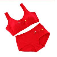 12本命年大红发育期保守内衣13岁16少女文胸套装运动学生猪年 蜜蜂套装