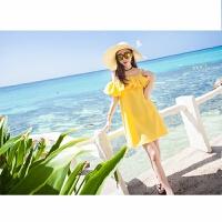 一字肩吊带连衣裙女夏2018韩版气质雪纺中长款露肩沙滩裙显瘦 黄色 2素黄