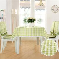 云蔻田园格子防水桌布布艺长方形餐桌布台布椅垫椅套套装现代简约