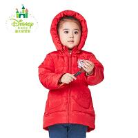 迪士尼Disney宝宝羽绒服保暖女童羽绒外套带帽中长款164S847