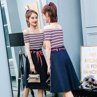 两件套装裙子 2018新款夏季一字肩连衣裙女装韩版夏装露肩条纹